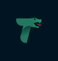 T letter logo with snake head silhouette vector