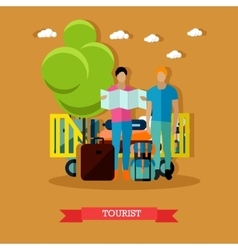 Tourists with baggage after vector