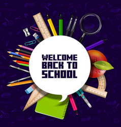 welcome back to school sign with schools supplies vector image