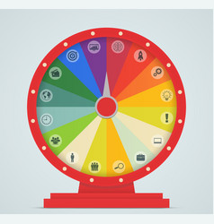 wheel fortune with business icons vector image