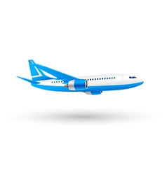 White and Blue Airplane Icon vector image