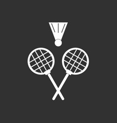 White icon on black background kids badminton vector