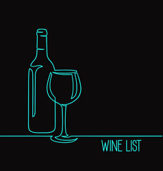 wine one line art vector image