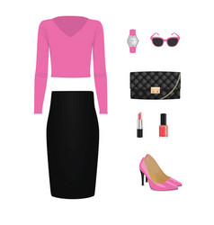 women set sweater skirt bag and shoes vector image