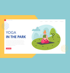 yoga in park landing page template outdoor workout vector image