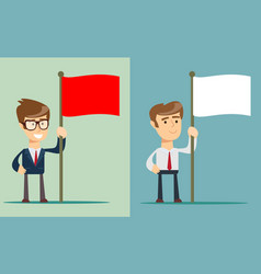 young man holding a red flag isolated on vector image