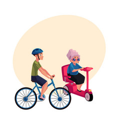 young man riding bicycle and old woman driving vector image