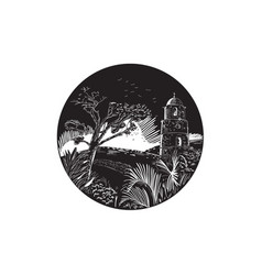 belfry tower on hill trees circle woodcut vector image vector image