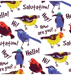 Bright birds greetings seamless pattern wallpaper vector image vector image