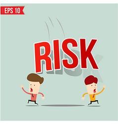 Businessman run away from risk burden vector image