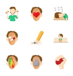 Human feelings icons set cartoon style vector image