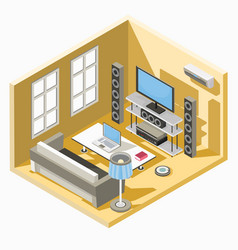 isometric design of a living room with a vector image