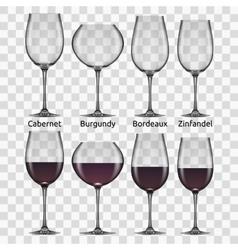 big reds wine glass set vector image vector image
