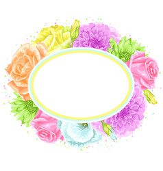 decorative frame with delicate flowers object for vector image vector image