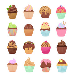 delicious cupcakes and muffins cartoon set vector image