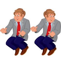 Happy cartoon man in sitting position in gray vector image vector image