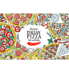 italian pizza top view colorful frame a vector image