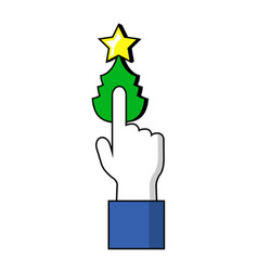 pointing finger on christmas tree button human vector image