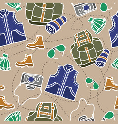 seamless pattern of camping equipment white vector image