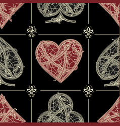 Seamless patterns card suite vector