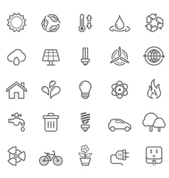 Set of Outline Stroke Ecology Icons vector image
