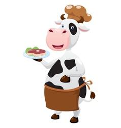 Cow cartoon with beef steak vector image