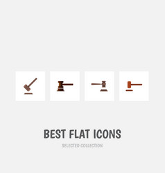 flat icon hammer set of defense legal tribunal vector image vector image