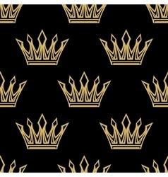 Golden royal crowns seamless pattern vector