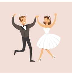 Newlyweds Dancing Rock-n-roll At The Wedding Party vector image