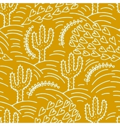 seamless hand-drawn pattern with cactus and desert vector image vector image