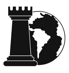 world planet and chess rook icon simple style vector image vector image