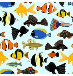 Fishes seamless pattern Cute cartoon aquarium fish vector image vector image