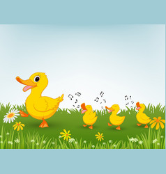 happy duck cartoon vector image vector image