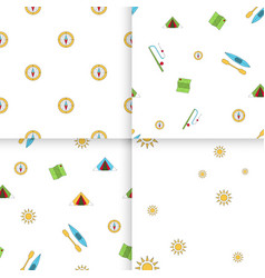 seamless pattern camping set vector image vector image
