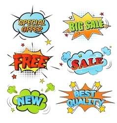 Set of cartoon labels vector image vector image
