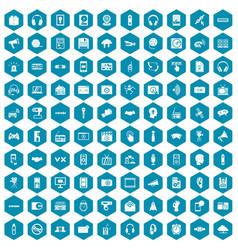 100 audio icons sapphirine violet vector
