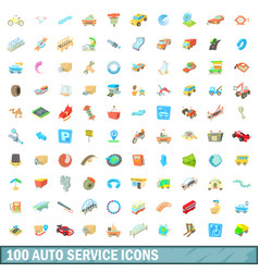 100 autoservice icons set cartoon style vector