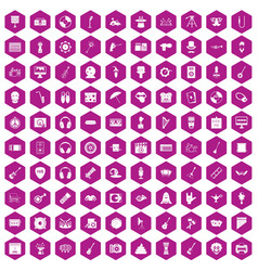 100 show business icons hexagon violet vector