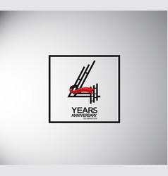 4 years anniversary logotype flat style vector