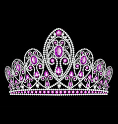 a beautiful crown tiara with gems vector image