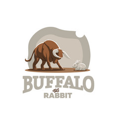 a young bull a calf is attacking a rabbit vector image