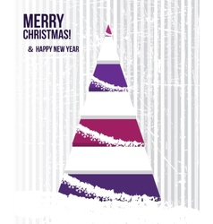 Abstract Christmas card with a tree in purple vector image