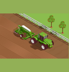 Agricultural machines isometric background vector