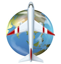 Airplane flying over the world vector