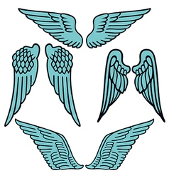 Angel wings linear set silhouette vector
