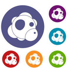 Atom icons set vector
