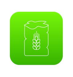 Bag wheat icon green vector