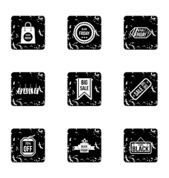 Big sale icons set grunge style vector
