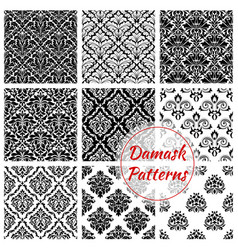 Black and white damask floral seamless pattern vector