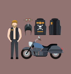 Blond motorcyclist and classic blue motorcycle vector